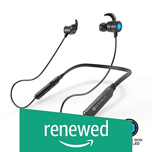 (Renewed) Nu Republic Rebop Neckband in-Ear Wireless Earphones with LED Light, IPX5 Water and Sweat Resistant, 10mm Titanium Drivers with deep bass, Long Battery Life, in-line Controls with Mic- Blue & Black