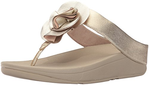 FitFlop Women's Florrie Toe-Thong Sandal, Pale Gold, 6 M US by FitFlop
