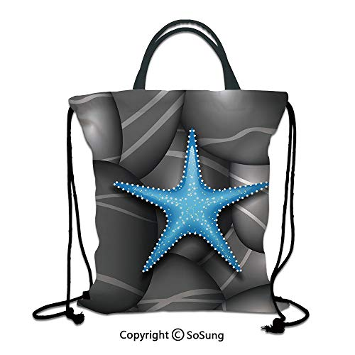 Starfish Decor 3D Print Drawstring Bag String Backpack,Blue Starfish among Sea Pebble Stones Ocean Underwater Wildlife Print,for Travel Gym School Beach Shopping,Grey Blue White ()