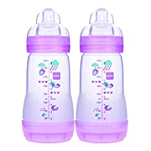 MAM Anti-Colic Bottle, Girl, 9-Ounce, 2 Plus Months, 2-Count, (For Girl)