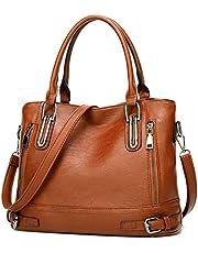 Dames handtas lederen hengseltas top handgreep tas vintage zachte schoudertas voor vrouwen