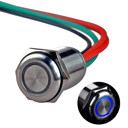 24v 16 Mm Led (Ulincos Touch Switch UT16T1 Stepless Dimming Switch DC 6V to 24V Blue LED Suitable for 16mm 5/8