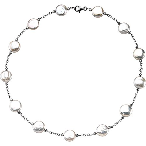 Sterling Silver 12-13mm Freshwater Cultured White Coin Pearl Station 18