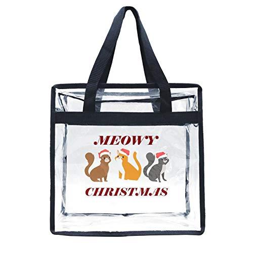 Eoyles gy Clear Bag Stadium Approved 12 x 6 x 12 Crossbody Transparent Purse Shoulder Handbag Men Women Cute Cats Meowy Christmas hat Zippered Security Bag