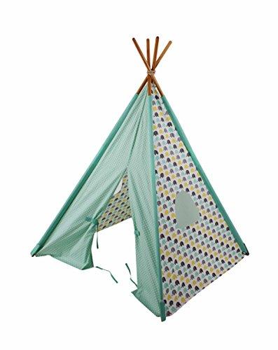 - Bacati Elephants Unisex Teepee Tent for Kids, Mint/Yellow/Grey