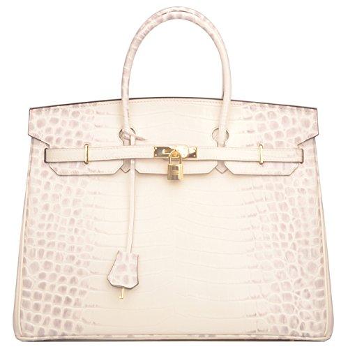 Ainifeel 40cm Oversized Patent Leather Padlock Handbag Business Purse (40cm OVERSIZE, Himalayan) by Ainifeel