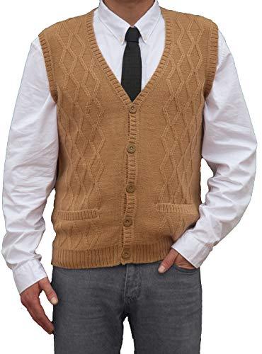 TINKUY PERU - Peruvian Alpaca Wool - Men´s Knitwear V-Neck Jacquard Vest Sweater Waistcoat - Camel (X-Large)