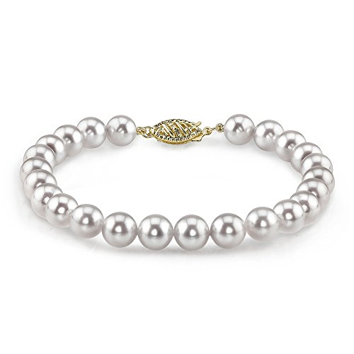 8' Cultured Pearl Bracelet - THE PEARL SOURCE 14K Gold 5.5-6mm Round White Japanese Akoya Saltwater Cultured Pearl Bracelet for Women