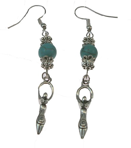 - Artistic Goddess Earrings Dangle from Turquoise Beads.Perfect Gift for The Holistic Goddess in Your Life