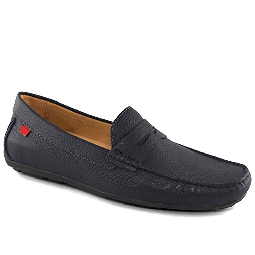 Men's Genuine Leather Made In Brazil Union Street Navy Grainy Driver Marc Joseph NY Fashion Shoes (Driver Loafer)