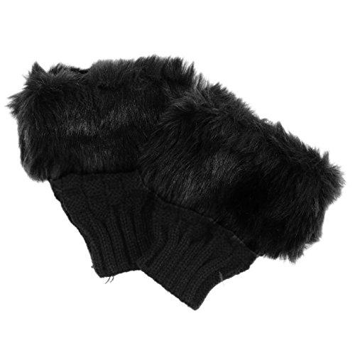 SODIAL(R) レディースブラック冬ソフト手袋指なしミトンニットウールフェイクファーリスト