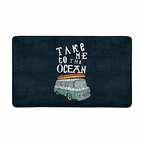 InterestPrint Funny Quotes Take Me to The Ocean with Van and Surfboards Doormat Anti-Slip Entrance Mat Floor Rug Indoor/Outdoor/Front Door Mats Home Decor, Rubber Backing Large 30