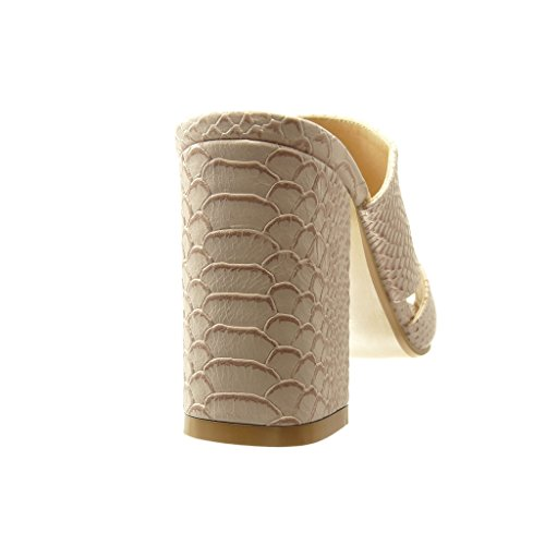 Rosa Moda Coccodrillo Donna Tacco Mules Di Blocco Pelle Scarpe Cm 9 Serpente Alto Angkorly A Sandali ZSAnpfxRwq