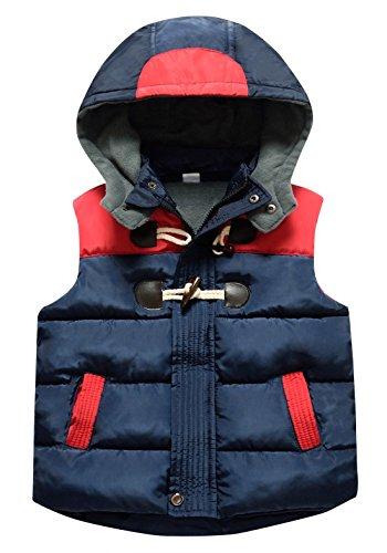Happy Cherry Toddler Girls Zipper Up Vest Spring Thicken Warm Breathable Removeable Hat Slant Pocket Splice Winter Vest 5-6T Blue
