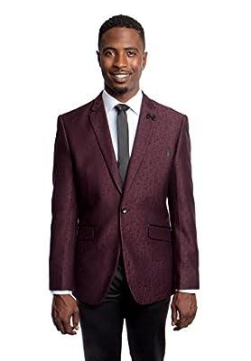 Men's Elegant One Button Stylish Floral Pattern Blazer Jacket