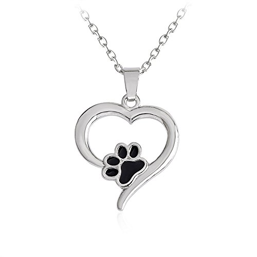 Meiligo Retro you left paw prints on my heart letter Pet Dog paw Charm Tag Necklace Owner and Dog Jewelry matching Pet Collar Necklace Pendant (Love Heart Paw)