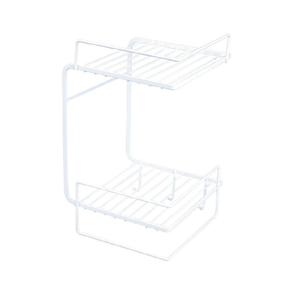 Bathroom Storage Rack Free Punching Wall Corner Towel Rack Drain And Quick-drying Large Capacity Double Layer (Color : White)