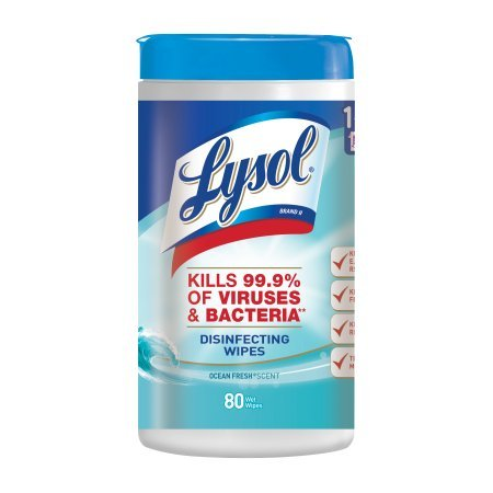 Lysol Disinfecting Wipes, Ocean Fresh, 160ct (2X80ct) (.2 pack(160 Wipes))