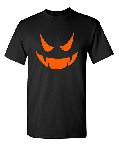 Vampire Pumpkin Emoticon Smile Face Costume Funny Halloween T-Shirt L Black