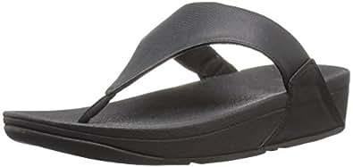 FitFlop Womens I43 LuluTM Lizard-Print Flip Flops Black Size: 5