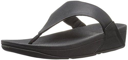 FitFlop Women's Lulu Lizard-Print Flip Flops Sandal, black, 7 M - Lizard Black