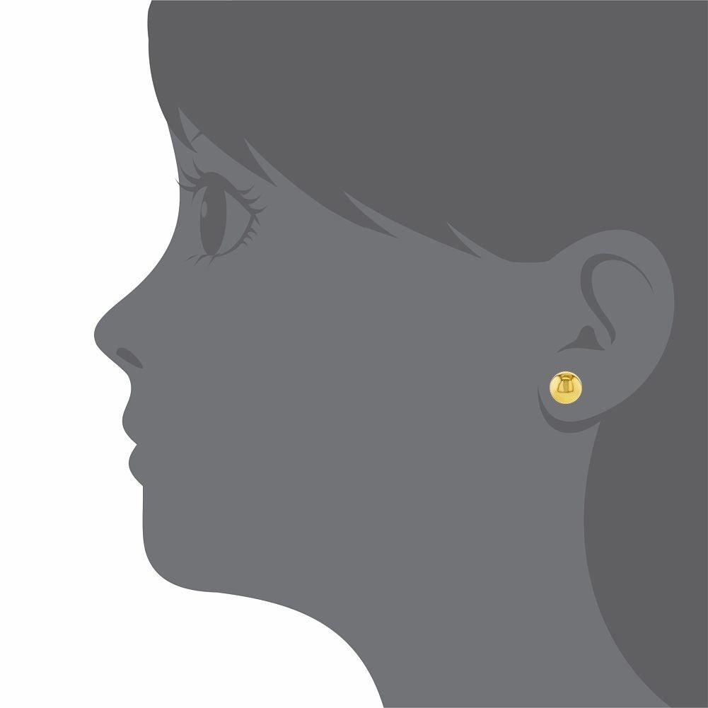 18k Gold Plated Small Plain Ball Screw Back Earrings Baby Toddler Girl 5mm