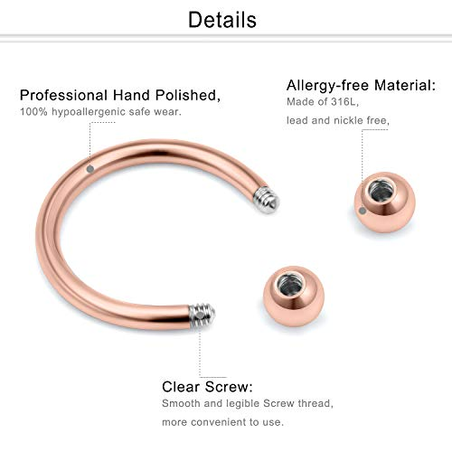 Surgical Steel Curved Barbell Half Hoop Horseshoe Ring 14 gauge 14g 8mm