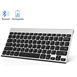Rechargeable Bluetooth Keyboard, Jelly Comb Ultra Slim Compact Wireless Bluetooth Keyboard Compatible for Smart Cellphones, Tablets, Windows