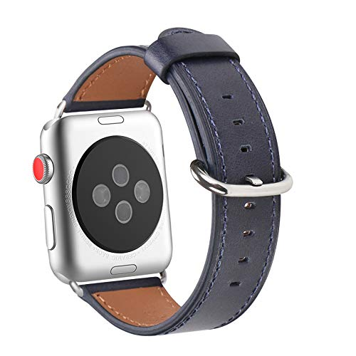 WFEAGL Compatible iWatch Band 38mm 40mm 42mm 44mm, Top Grain Leather Bands of Many Colors for iWatch Series 4,Series 3,Series 2,Series 1 (Dark Blue Band+Silver Adapter, 38mm 40mm)
