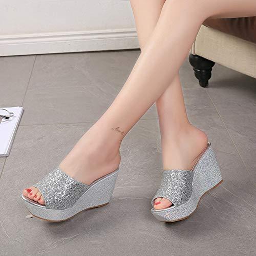 Elegant Scarpe Donna 36 Eleganti Liuchehd Medio Asia Zeppa Gioiello Con Pantofole Tacco Estive Sandali nYaaBTX