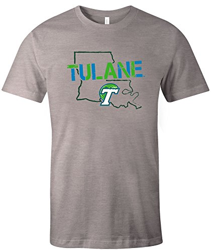 Image One NCAA Tulane Green Wave Stenciled Short Sleeve Triblend T-Shirt, Athletic (Tulane Green Wave Shirt)