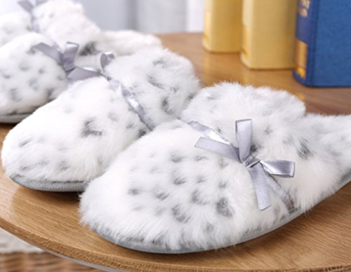 Cattior Womens Leopard Warm Ladies Slippers Bedroom House Indoor Pantofole Bianche