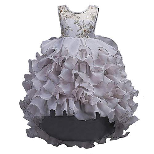VERNASSA Girl Dress Kids Ruffles Lace Party Wedding Dresses Girl Birthday Party Gray -