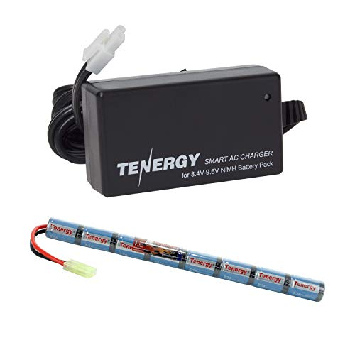 Tenergy Airsoft Battery 9.6V 1600mAh NiMH Stick Battery High Performance Stick Type Batteries w/Mini Tamiya Connector for Airsoft Gun + 8.4V-9.6V NiMH Battery Charger w/Mini Tamiya Connector