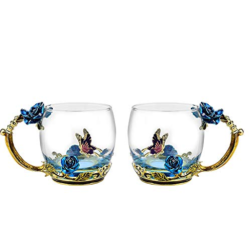 Glass Mug Set [2-Pack], TIANG 11oz Lead-Free Handmade Enamel Butterfly and Blue Rose Flower Tea Cups with Handle, Unique Personalized Birthday Present Ideas for Women Mother Grandma Teachers Coffee (Green Tea Butterfly)