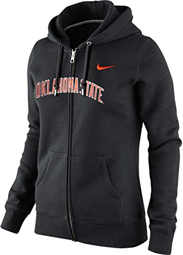 Nike Jacket Hockey - Nike Womens Oklahoma State Cowboys OSU Arch Name Wordmark Classic Zip Hoodie (Black, Small)