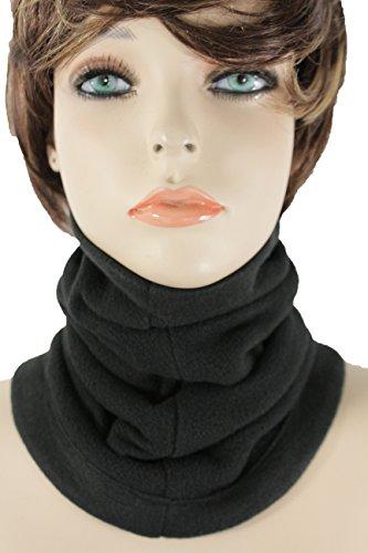TFJ Women Men Sport Fashion Scarf Turtle Neck Warmer Head Cover Hair Outdoor Loop Mask Hat Sport (Solid Black)