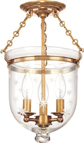 Hudson Valley Lighting 251-AGB-C3 Three Light Semi Flush Mount from The Hampton Collection, Aged Brass Finish/251-AGB-C3