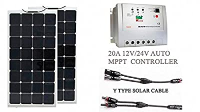 Best Cheap Deal for GOWE 200w solar kit system; 2pcs flexible solar panel 100W; 20A mppt solar charge controller; Y branch solar cable with MC4 connector by Gowegroup - Free 2 Day Shipping Available