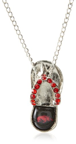 Arkansas Razorbacks Ncaa Crystal (NCAA Arkansas Razorbacks Crystal Flip Flop Necklace)