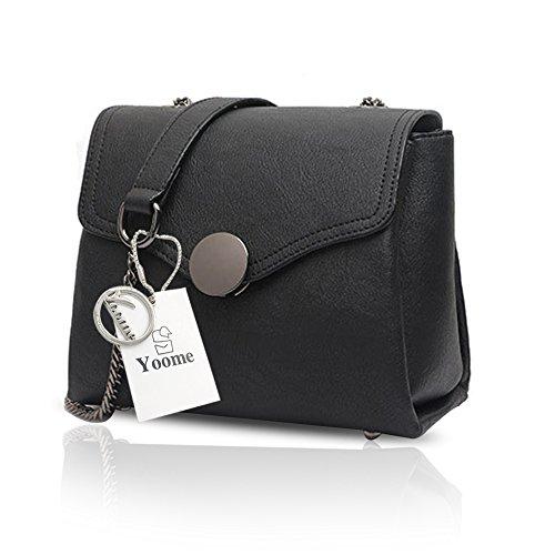 Yoome estilo de impresión de estilo retro bolsos para el hombro Bolsos con estilo para las mujeres monederos cartera de las señoras - Negro Negro