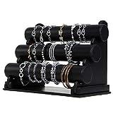"12.2"" Wide Three tier bracelet display Black PU"