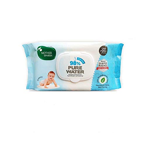 Mother Sparsh 98% Water Base Wipes I Plant derived Fabric I mild Scented I 80 Pcs/Pack (Pack of 24)