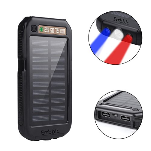 41VeErpJoPL - Solar Power Bank 10000mAh Solar Charger Waterproof Portable External Battery USB Charger Built in LED light with Compass for iPad iPhone Android Cellphones