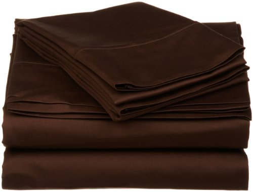 Chocolate 3 Ply (530 Thread Count, 100% Premium Combed Cotton, Single Ply, Twin 3-Piece Sheet Set, Solid, Chocolate)
