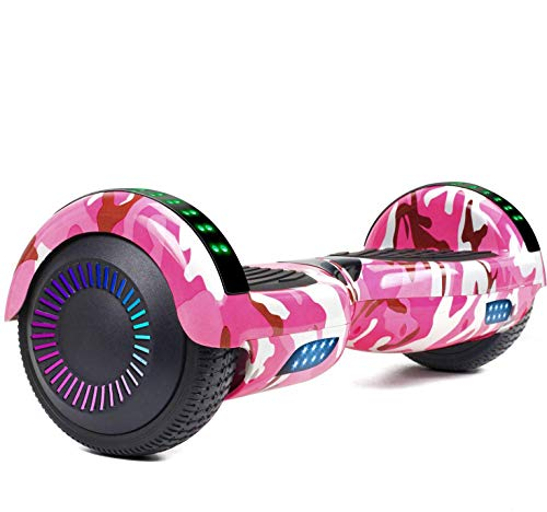 LIEAGLE Hoverboard Self Balancing Scooter Bluetooth Speaker Hover Board for Kids Adults with UL2272 Certified, Wheels LED Lights and Portable Carrying Bag (Camo Pink)