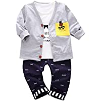 Keepfit Toddler Kids Boy Cool Outfits Print T-shirt Tops+Pants+Coat Cardigan Clothes Set