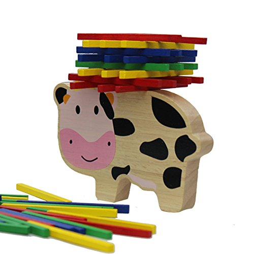 Cow Toys Blocks Domino Geometric Shape Enlightenment Kids Educational Wood Game Building Baby Learning
