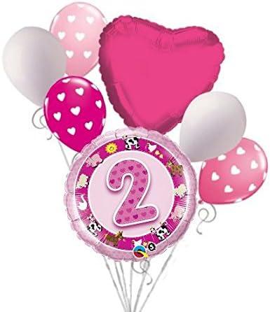 7 pc Farm Friends 2nd Happy Birthday Balloon Bouquet Party Decoration Farm Cow