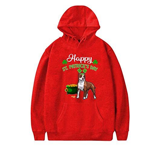 MoKviq Womens Plus Velvet Hoodie,Stylish Happy St Patrick_s Day for Pitbull Stylish Printed Classic Pocket Sweatshirt S -